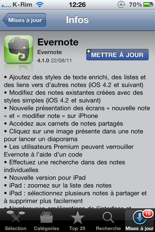 evernote1 AppStore   Evernote mis à jour en version 4.1.0