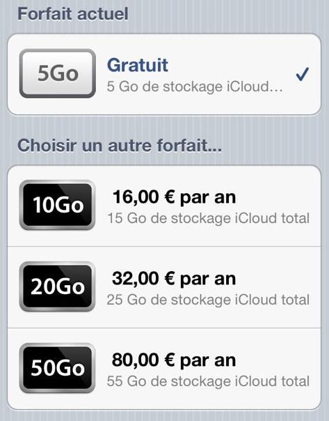 icloudfr News   Les prix de stockage iCloud français disponibles