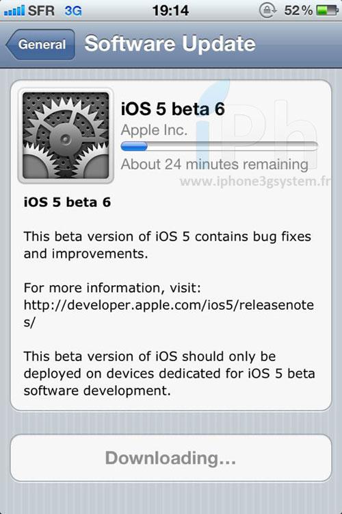 ios5 beta 6 News   iOS 5 bêta 6 enfin disponible !