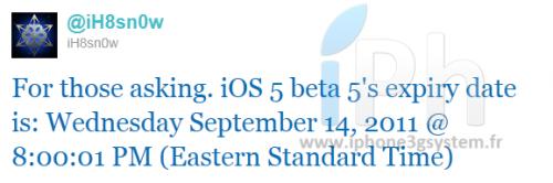 twitter iH8sn0w 500x166 News   iOS 5 bêta 5 expirera le 14 Septembre