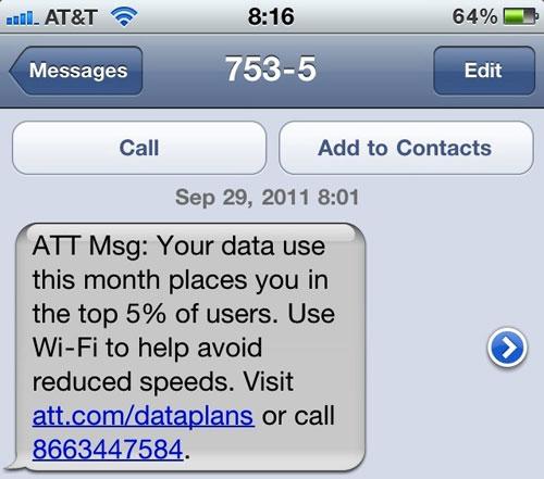 121 AT&T envoi les premiers SMS davertissements sur le DATA