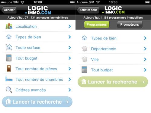 24 Logic Immo sur iPhone, recherchez et trouvez votre futur appartement ou maison