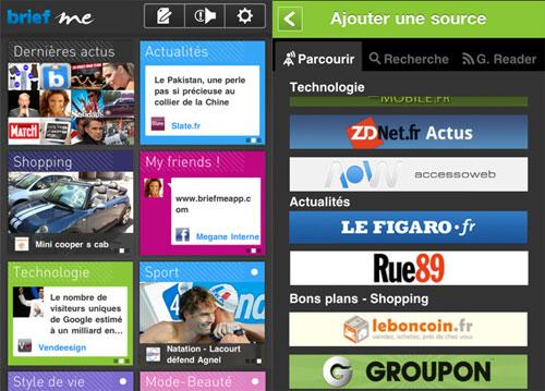 briefMe screens Brief me, un nouvel agrégateur de Flux RSS et de réseaux sociaux