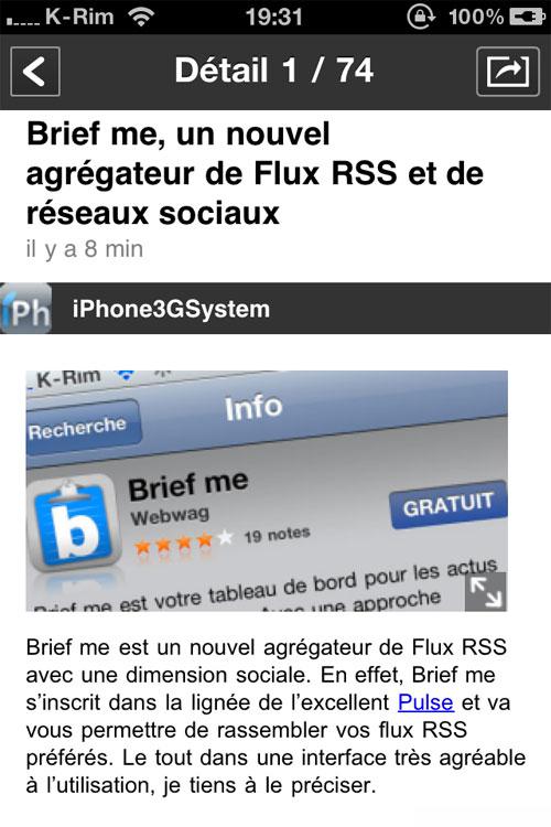 briefme iph Brief me, un nouvel agrégateur de Flux RSS et de réseaux sociaux