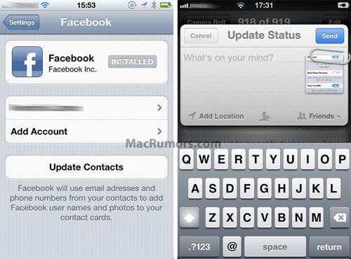 fbios Facebook finalement intégré à liOS 5 ?