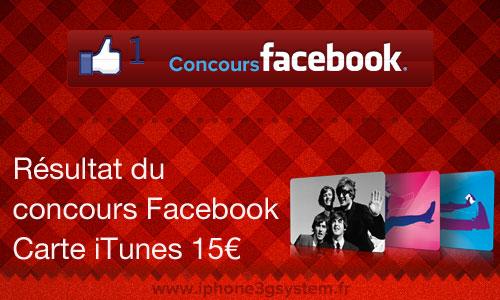 iTunesCardContest result1 Résultat du concours cartes iTunes 15€ avec Facebook
