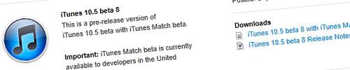 iTunes 10 5 beta 8 iTunes 10.5 bêta 8 disponible pour les développeurs