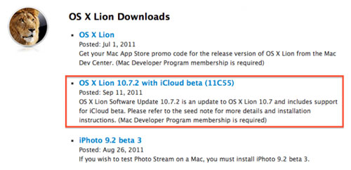 lion beta icloud Lion 10.7.2 bêta 11C55 intègre iCloud pour les développeurs