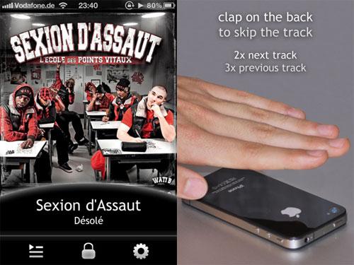 tipSkip tipSkip où comment changer de musique en tapant liPhone