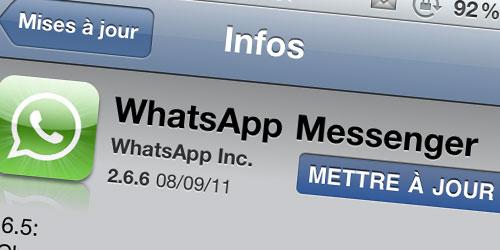 whatsappmessenger WhatsApp Messenger mis à jour en version 2.6.6