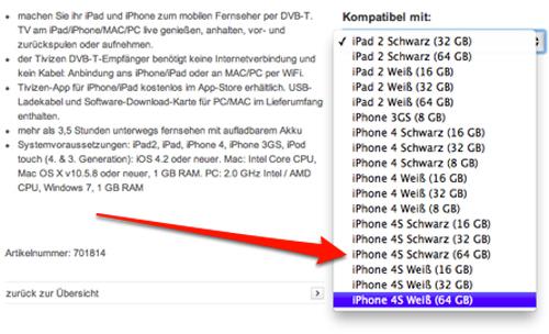 13 iPhone 4 8Go et iPhone 4S 16, 32, 64Go chez Vodafone Allemagne