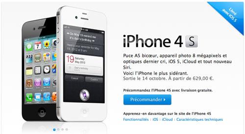 28 liPhone 4S en pré commande dès maintenant
