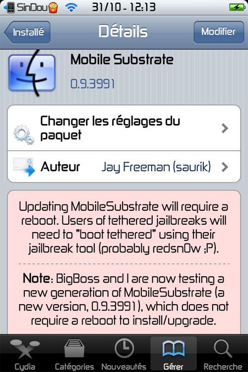 IMG 0060 Mobile Substrate passe en version 0.9.3991 et apporte une nouveauté