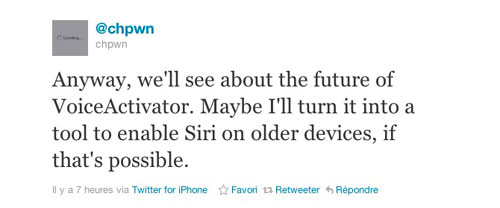 chpwn Les hackeurs travaillent sur le portage de Siri sur les vieux appareils