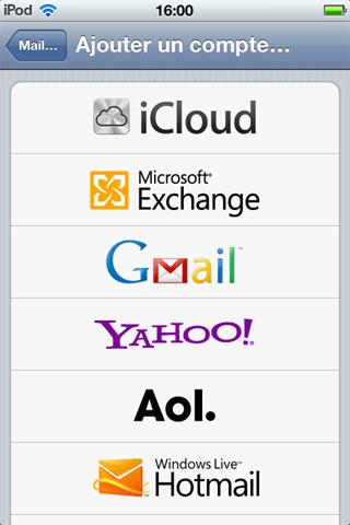 hotmail Hotmail nativement intégré à liOS 5