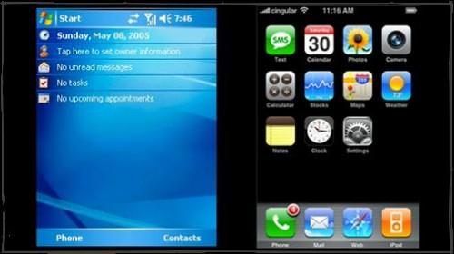 iphone vs winmobile 500x280 Aujourdhui cest lanniversaire de Bill Gates...