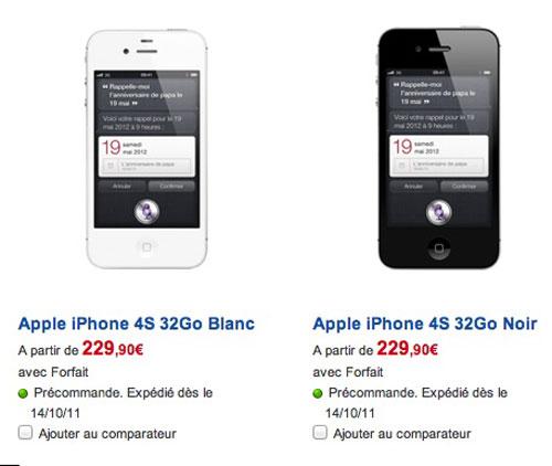 iphone4S SFR : Les pré commandes diPhones 4S commencent [MAJ]