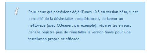 itunes infos iTunes 10.5 est disponible au téléchargement