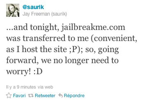 jbmesaurik JailbreakMe.com appartient désormais à Jay Freeman (Saurik)