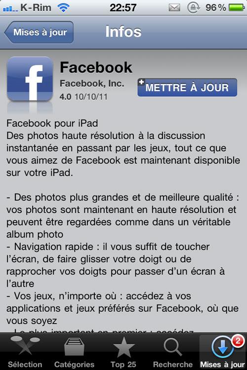 photo Facebook débarque sur iPad [MAJ]