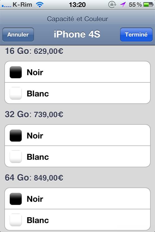 prix Prix et Conditions pour liPhone 4S en France