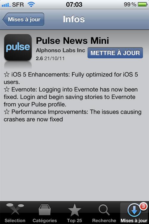 pulse Pulse News Mini se met à jour pour liOS 5