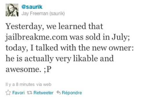saurikjbme JailbreakMe.com appartient désormais à Jay Freeman (Saurik)