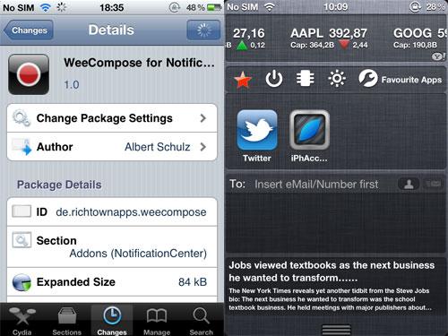 weecompose WeeCompose, pour composer rapidement SMS / Mails depuis le Notification Center
