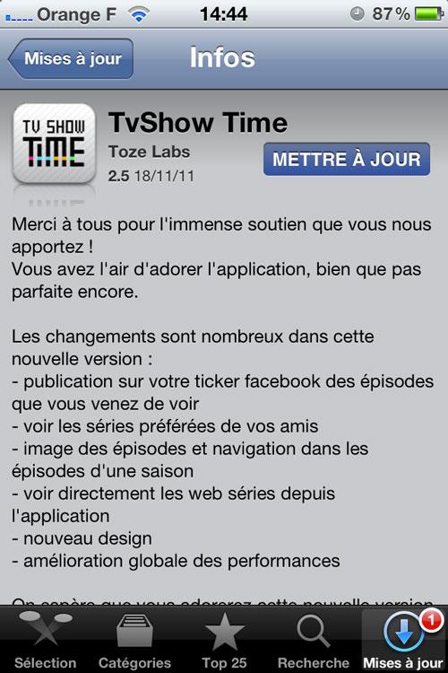 Photo 18 11 11 14 44 29 TvShow Time se met à jour et passe en 2.5