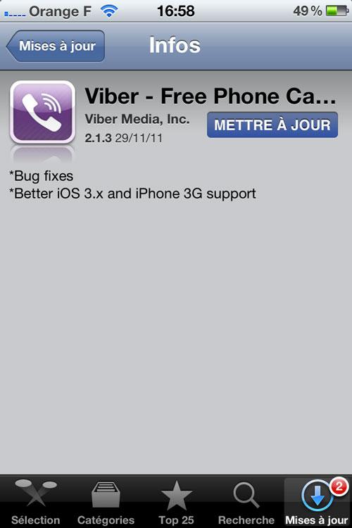 Viber Lapplication Viber passe en 2.1.3