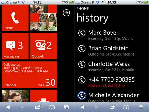 WP2 Windows Phone 7 sur votre iPhone