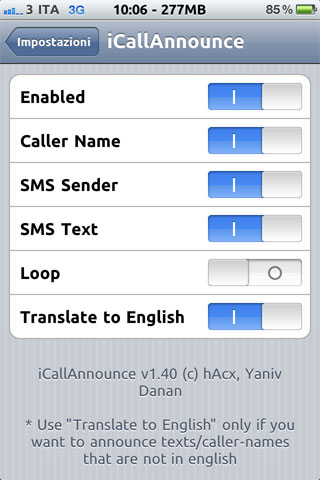icall iCallAnnounce passe en version 1.70