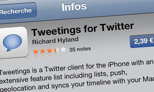 tweetings Tweetings se met à jour en version 4.4.3