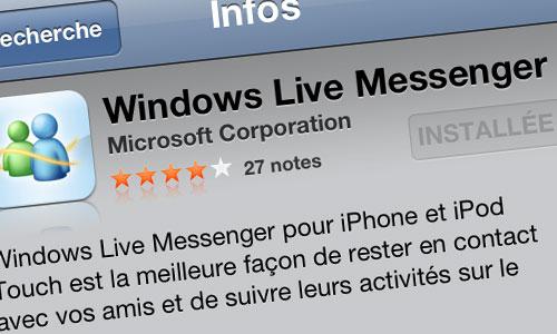 WLM Windows Live Messenger pour iPhone compatible écran rétina