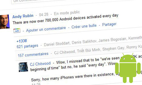 android activations 700 000 activations par jour sous Android