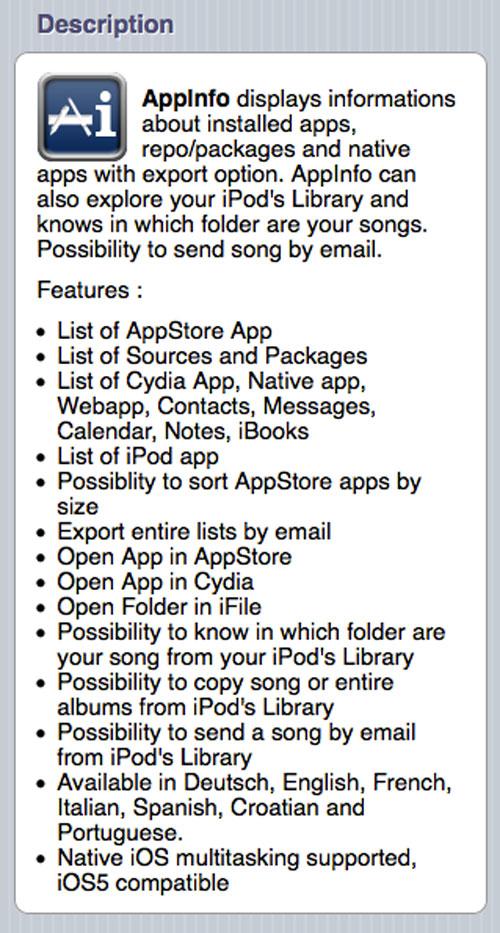 appi Le tweak AppInfo devient compatible iOS 5
