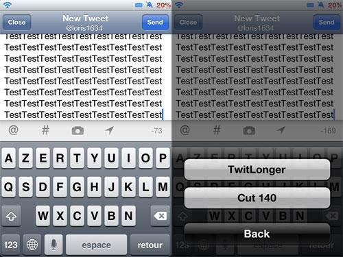 infinite Infinite Tweet pour dépasser les 140 caractères