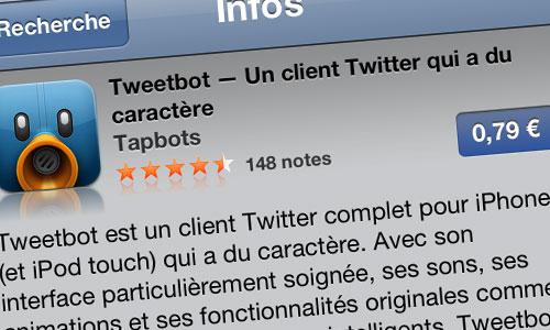 tweetbot 79 Tweetbot est à 0,79€ pour une durée limitée !