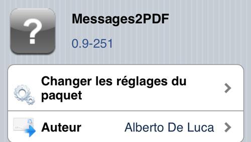 M2P Cydia : Messages2PDF passe en version 0.9 251