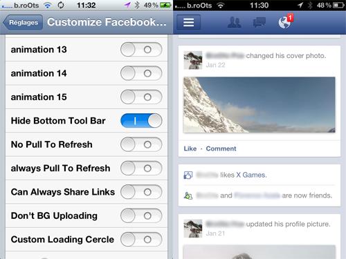 customizefacebook iph Cydia : Customize Facebook Pro passe en version 5.0.6