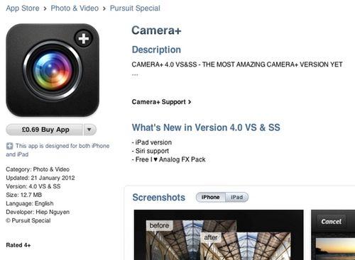 fake camera+ Un faux Camera+ a fait son apparition sur lApp Store