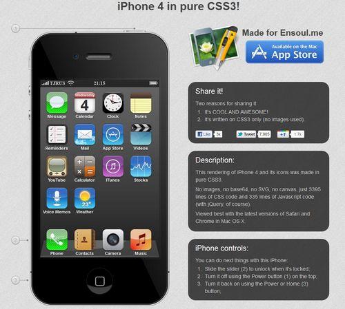 iphone4 css3 Un iPhone 4 réalisé en CSS3 et JavaScript