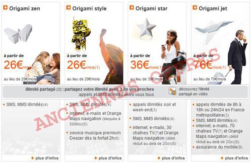 orange origami Les nouveaux tarifs dOrange dévoilés