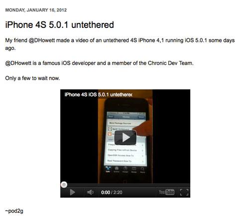 pod21 Pod2G publie une vidéo du jailbreak untethered de liPhone 4S !