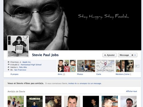 Fb TL SJ La vie de Steve Jobs, sur une Timeline Facebook
