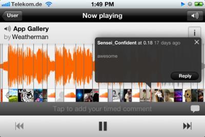 Soundcloud screen shot Les mises à jour App Store du 22 Février 2012
