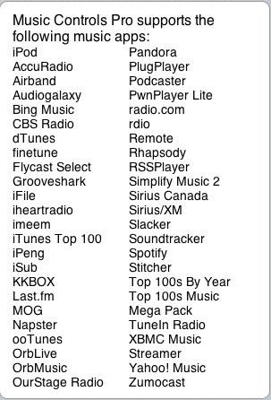 listemu Music Controls Pro passe en version 1.1.2 1