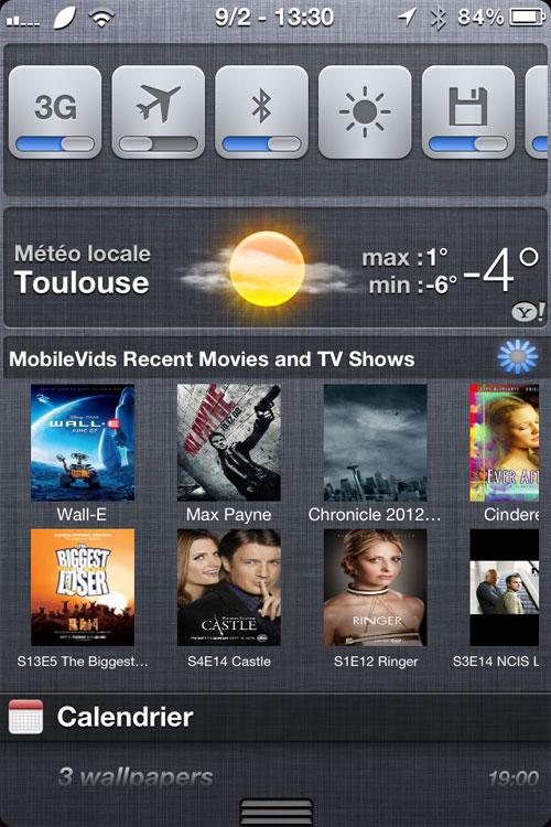 mobilsvids recent iph MobileVids Recent, Vos séries et films dans le NotificationCenter