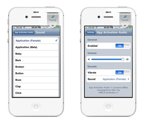 AppActivationAudio iph App Activation Audio, 20 sons lorsque vous lancez une application