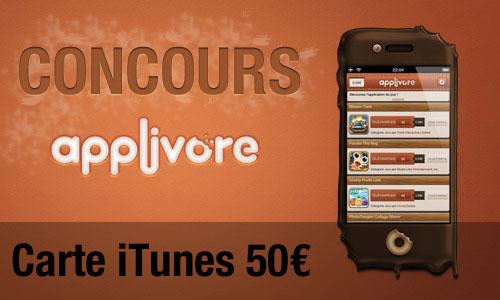 Concours applivore1 Concours : 2 cartes iTunes 50€ à gagner